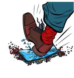 Man breaks phone with his foot vector