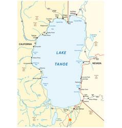 Map lake tahoe between california and nevada vector