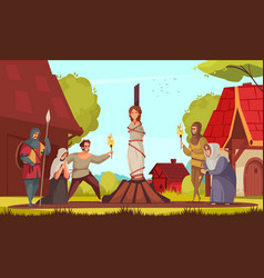 medieval people witch composition vector image