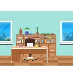Modern office interior with designer desktop vector image