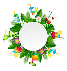 paper cut tropical cocktail round frame vector image