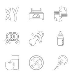 parturition icons set outline style vector image