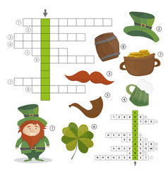 Patricks day holiday - puzzle - crossword game vector