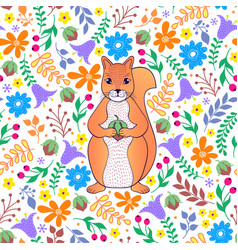 Pattern with orange squirrel vector