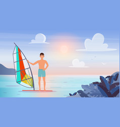 people windsurf extreme water sports young vector image