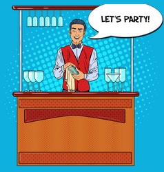 Pop art barman wiping glass in nightclub bar vector