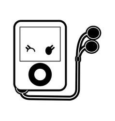 Portable music player kawaii style icon image vector