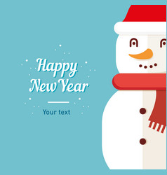 Postcard template snowman happy new year and vector