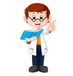 professor cartoon holding book vector image