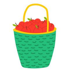 Red apples in basket agriculture theme vector