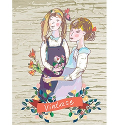 Retro girls vintage card with flowers frame vector image