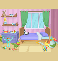 Room for kids with funny toys on the floor vector