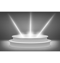 Round podium illuminated by spotlights Image vector image