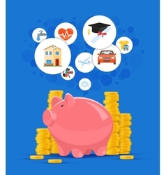 Saving money concept pink vector