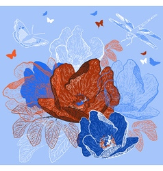 Seamless Blue Floral Background with Butterflies vector