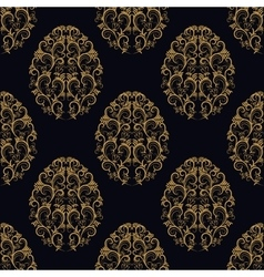Seamless pattern from eggs with gold floral vector image