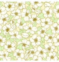 Seamless pattern with cherry blossom flowers vector image