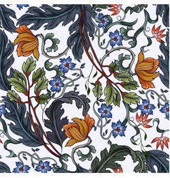 Seamless pattern with flowers in art deco style vector