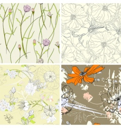 set of floral seamless wallpaper vector image