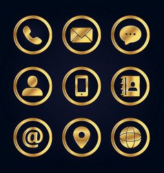 set of gold business contact icons vector image