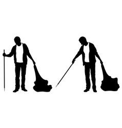 silhouettes of people cleaning vector image