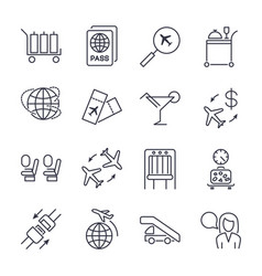 simple airport icons set universal airport icons vector image