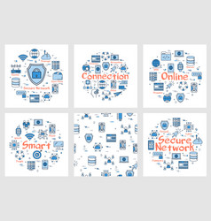 six blue internet square banners vector image