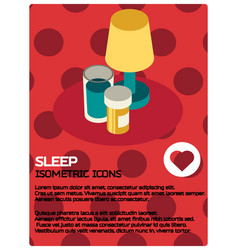 Sleep color isometric poster vector