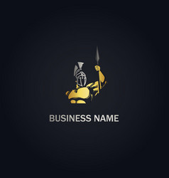 spartan soldier gold logo vector image