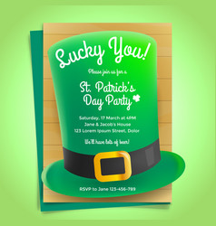St patricks day invitation with hat vector