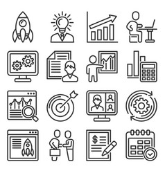startup icons set on white background vector image