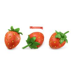 strawberry summer fruit plasticine art 3d icon set vector image