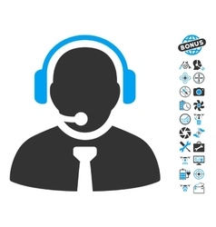Support Manager Icon With Air Drone Tools Bonus vector