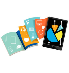 tablet with many colour books vector image