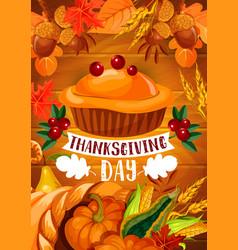 Thanksgiving pumpkin pie banner on wood backgorund vector