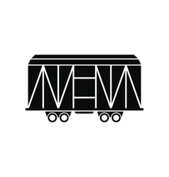 Train cargo wagon black simple icon vector image