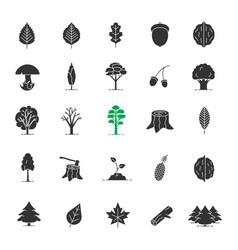 Tree types glyph icons set vector