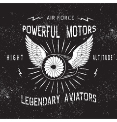 Vintage label with turbine vector image