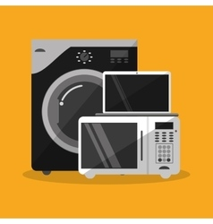 Washer microwave and laptop design vector