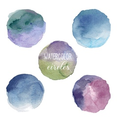 Watercolor circles in cold colors vector