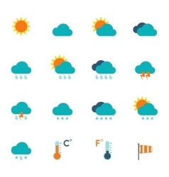 Weather icons flat vector