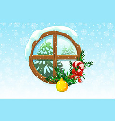 winter christmas window vector image