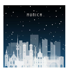 winter night in munich night city in flat style vector image