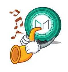 With trumpet maker coin mascot cartoon vector