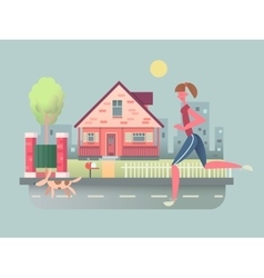 Woman run with dog on street vector