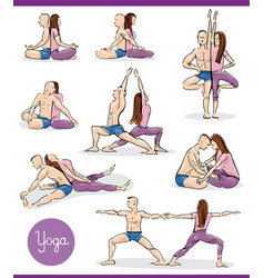 Yoga in couple set vector