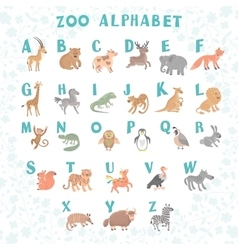 Cute zoo alphabet Funny cartoon animals vector image