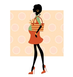 fashionable silhouette mom-to-be vector image vector image