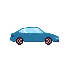flat style blue car automobile side view vector image