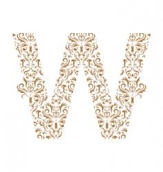 floral letter w ornament font vector image vector image